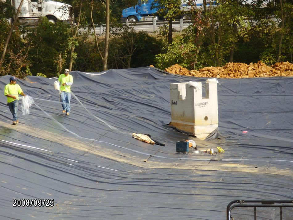 Swm pond liner c william hetzer inc for Pond liner installation